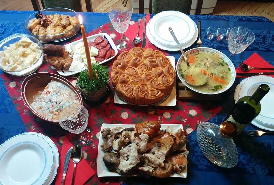 božićna, trpeza, božić, hrana, sto