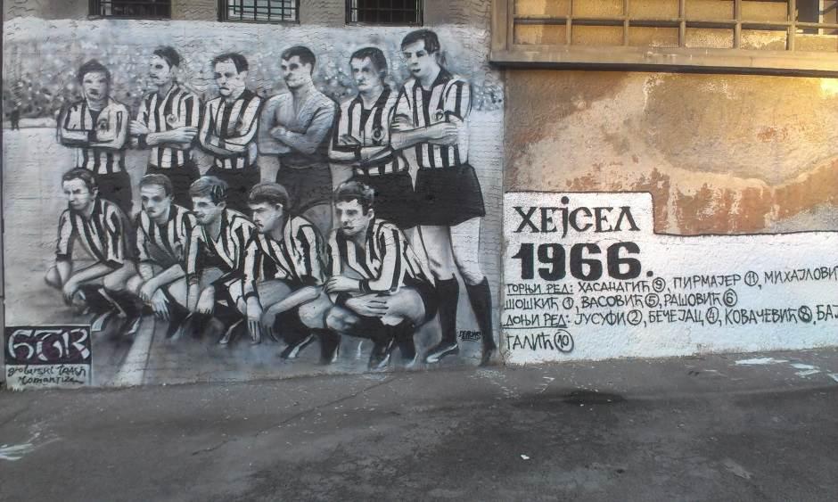 Mural posvećen generaciji Partizana koja je igrala u finalu Kupa evropskih šampiona protiv Real Madrida 1966. godine.