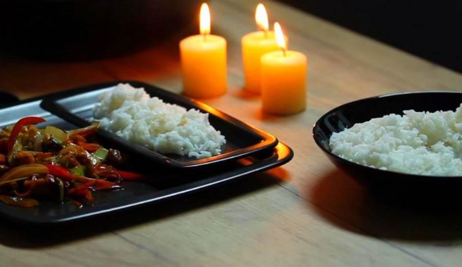 jelo, hrana, pirinač, sveće, romantika, večera