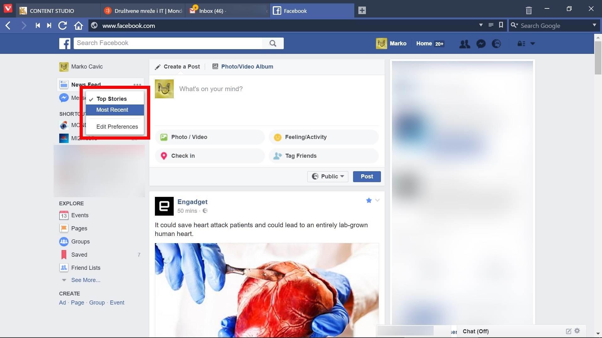 Da li je Facebook i vama istumbao News Feed?