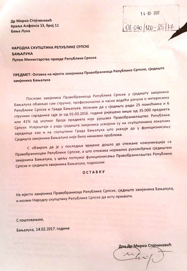 Ostavka Mirka Stojčinovića