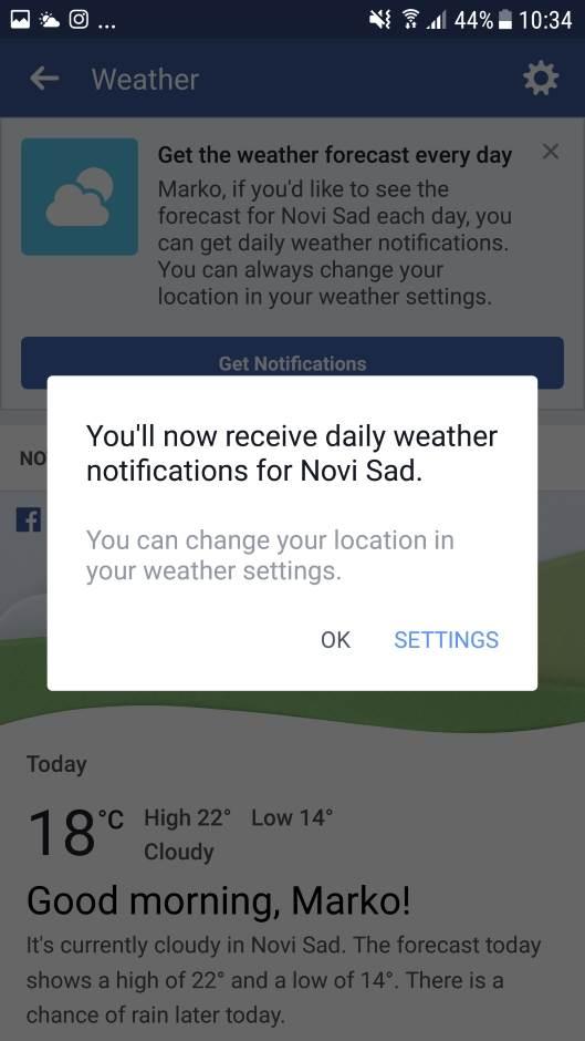 Facebook ne greši? Proverite prognozu!