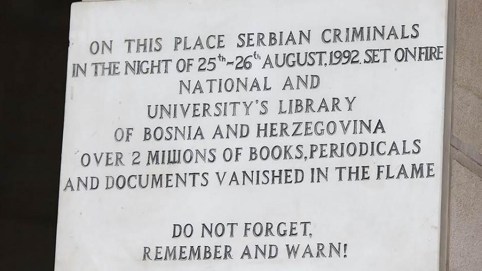 Vijećnica u Sarajevu, Sarajevo, Vijećnica, ploča na Vijećnici