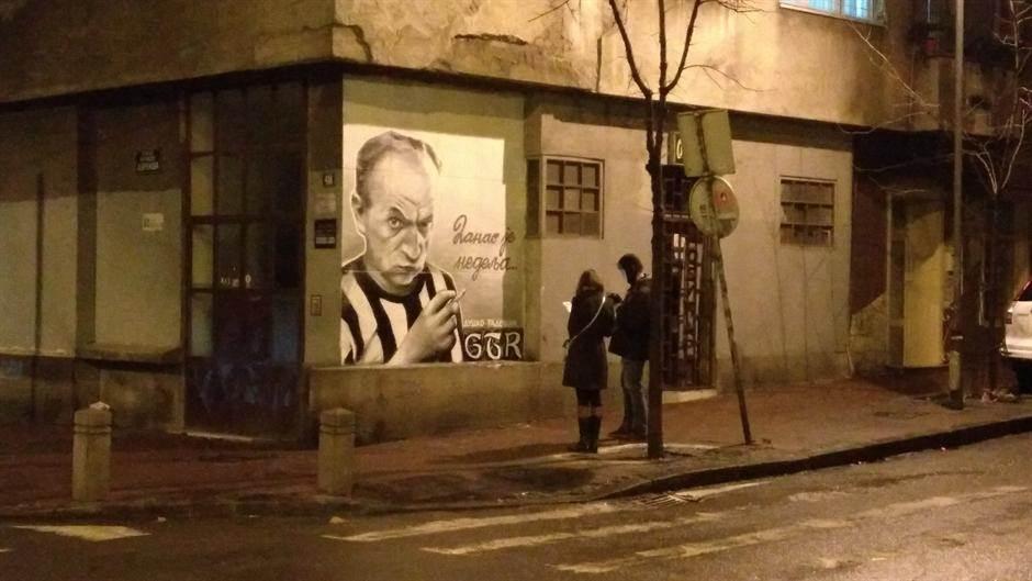 mural,duško radović,crno-beli