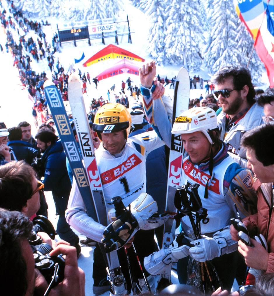 Ingemar Stenmark i Bojan Križaj posle slalomske trke u Sarajevu 1987. godine.