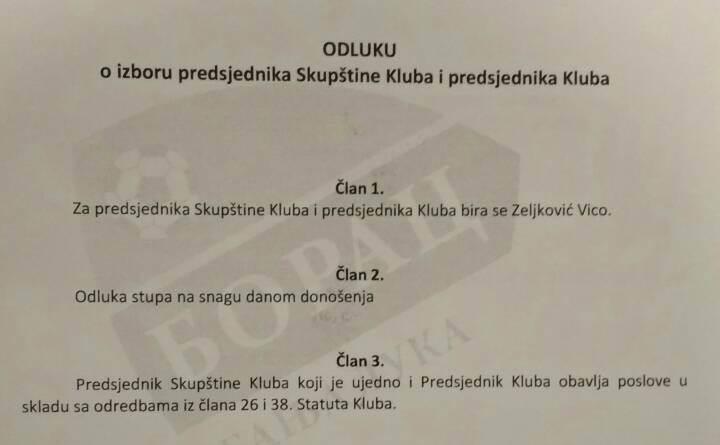 Zeljković novi predsjednik Borca! (FOTO, VIDEO)