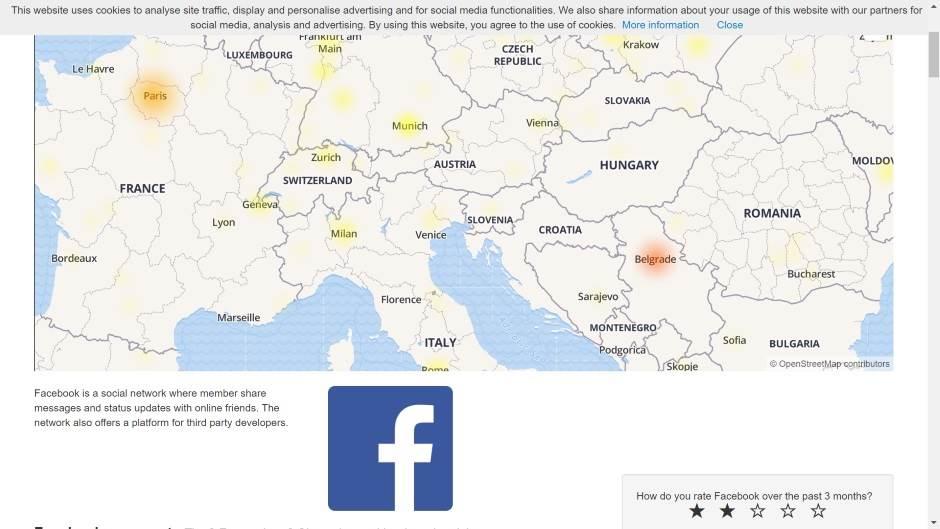 Facebook pao u Srbiji.