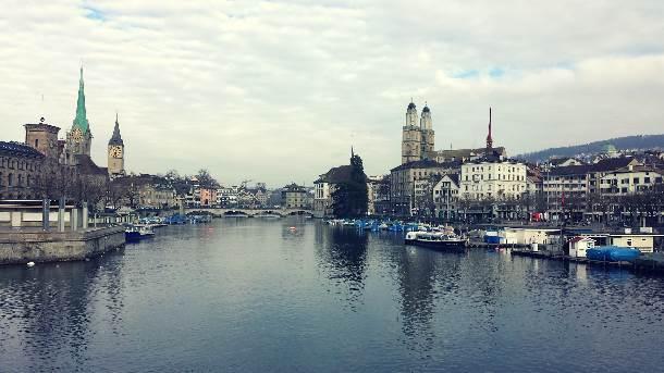 Švajcarska, Cirih, jezero, crkva
