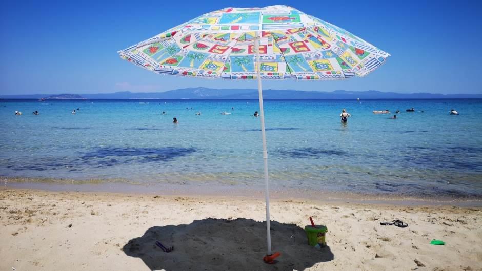 Grčka, Posidi, Xenia, Sitonia, plaže, more, plaža, leto, suncobran