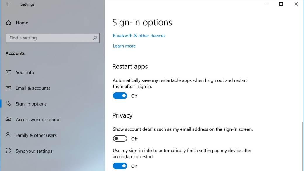 Windows 10 Restart Apps