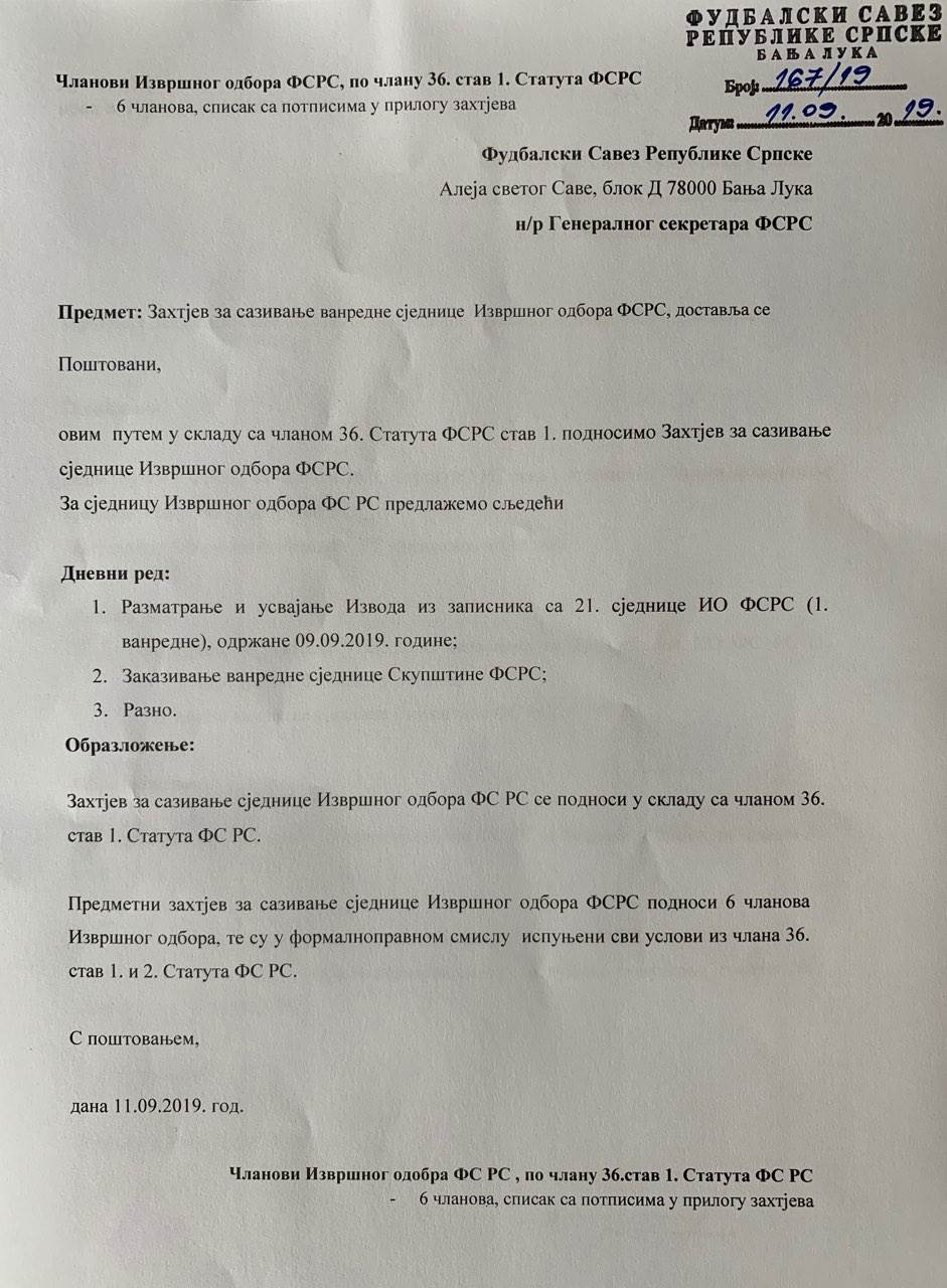 """Zahtjev """"opozicije"""" stigao u FSRS (FOTO)"""