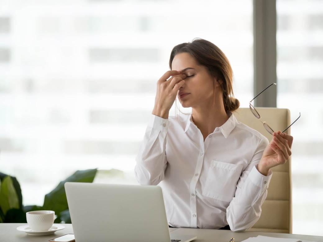 vid, umor, oči, posao, kancelarija, stres, žena