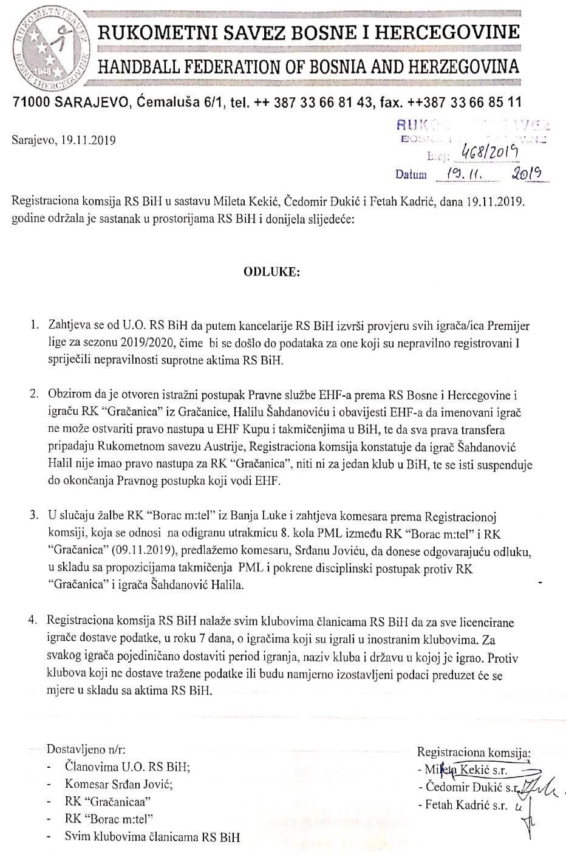 Odluka Registracione komisije