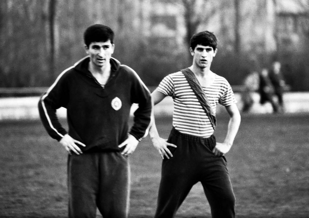Mustafa Hasanagić i pokojni Blagoje Paunović na treningu crno-belih. Beograd, jesen 1967.