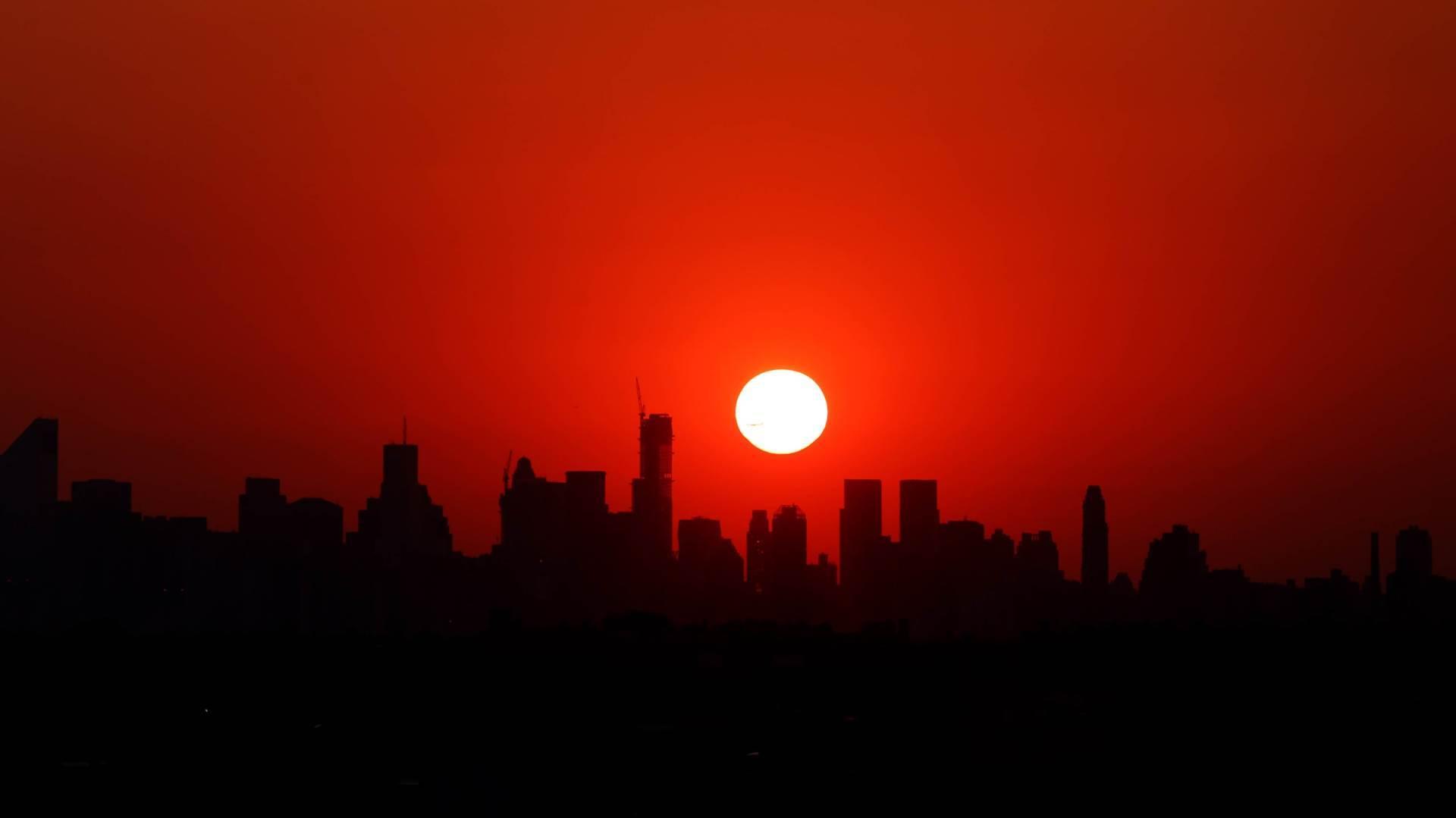 """Panorama Njujorka pogledom sa """"Artur Eš"""" stadiona."""