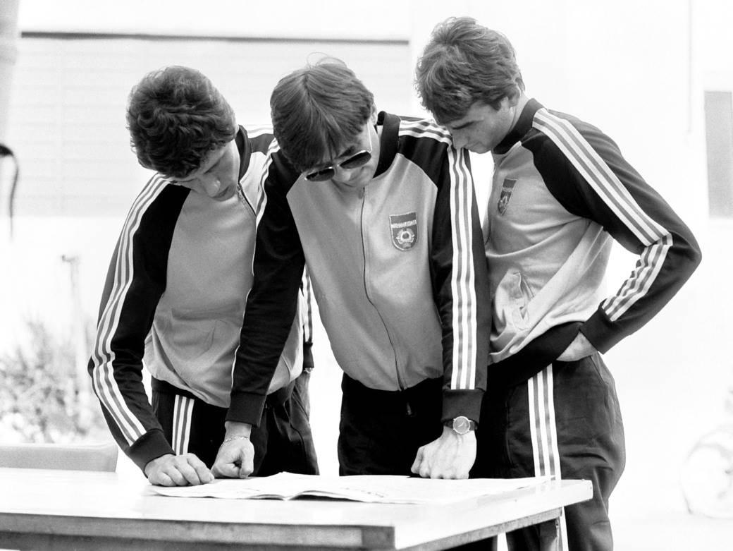 Ljubomir Radanović, Borislav Cvetković i Fahrudin Omerović u omladinskoj reprezentaciji Jugoslavije 1983.