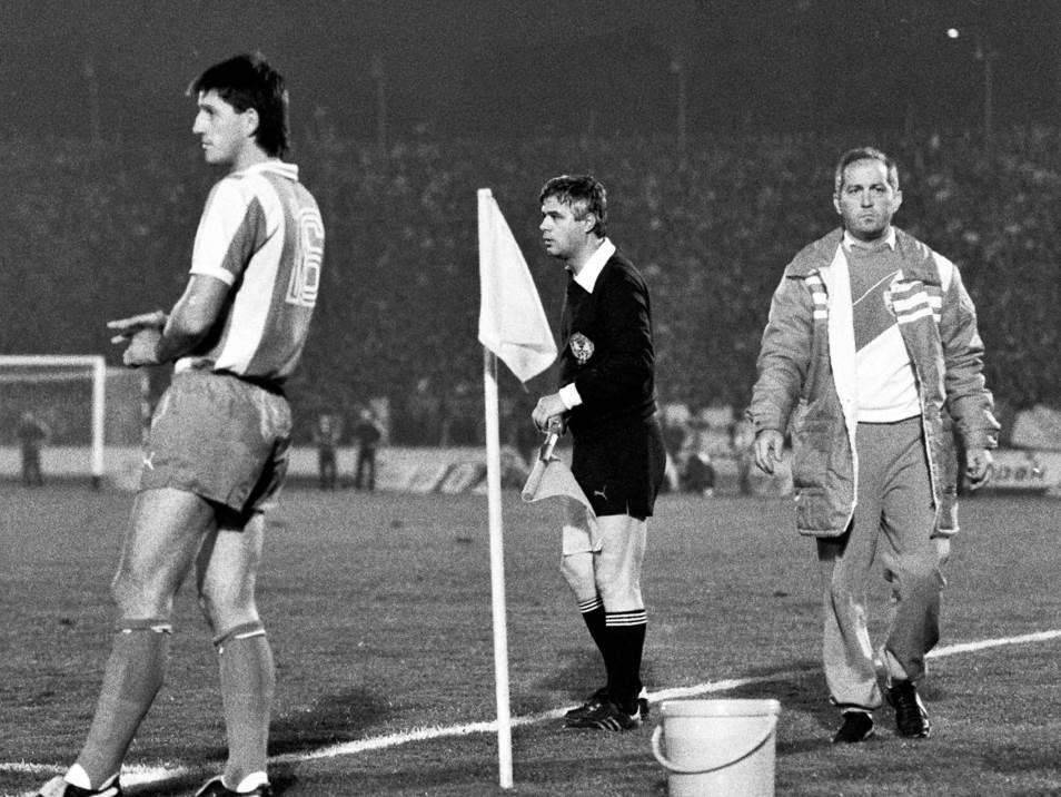 Velibor Vasović i Husref Musemić na derbiju protiv Partizana u oktobru 1986.