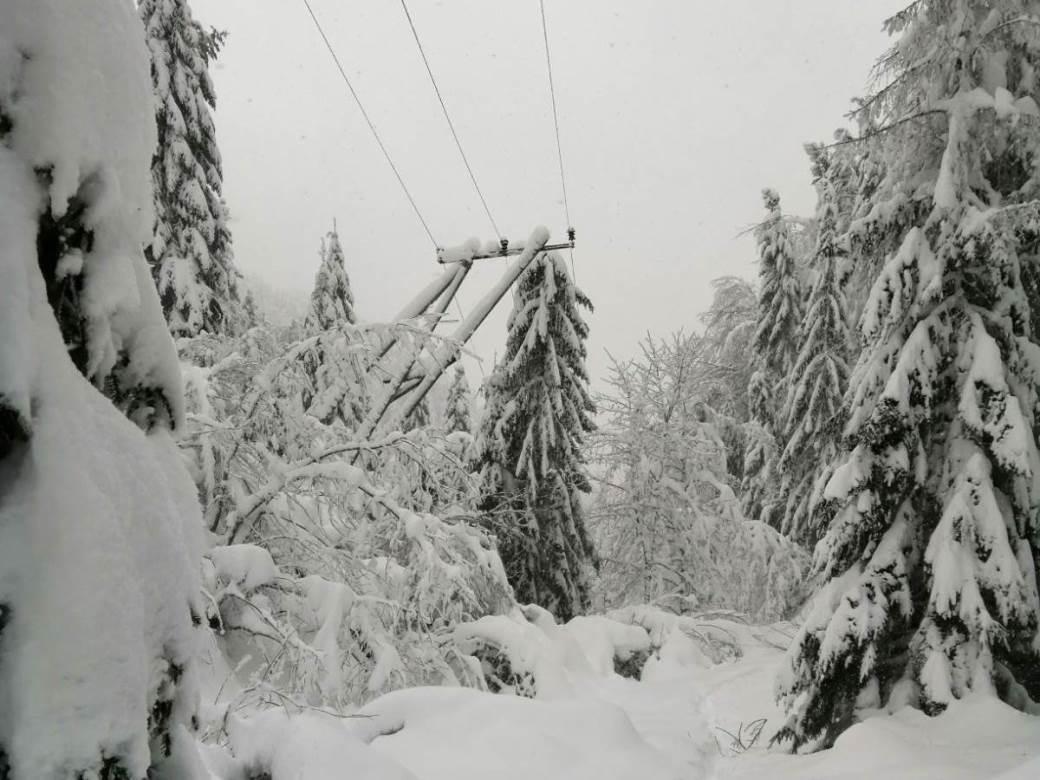 Foča, snijeg, struja, dalekovod