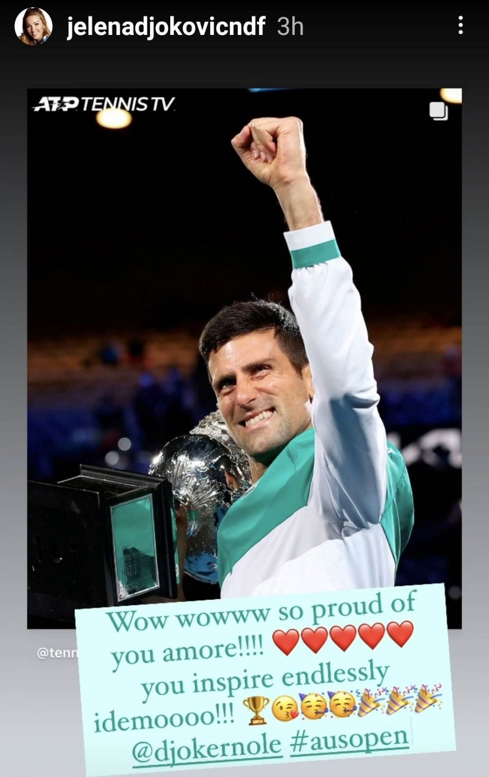 Novak Djokovic trofej Jelena Djokovic Instagram story