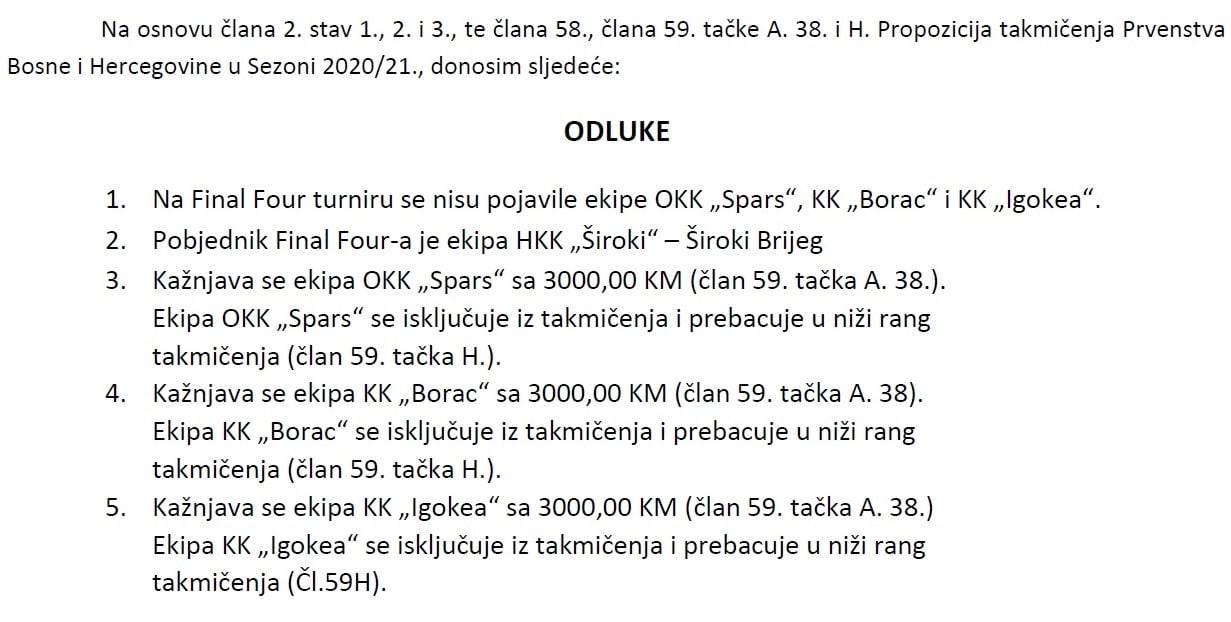Odluka Košarkaškog saveza BiH