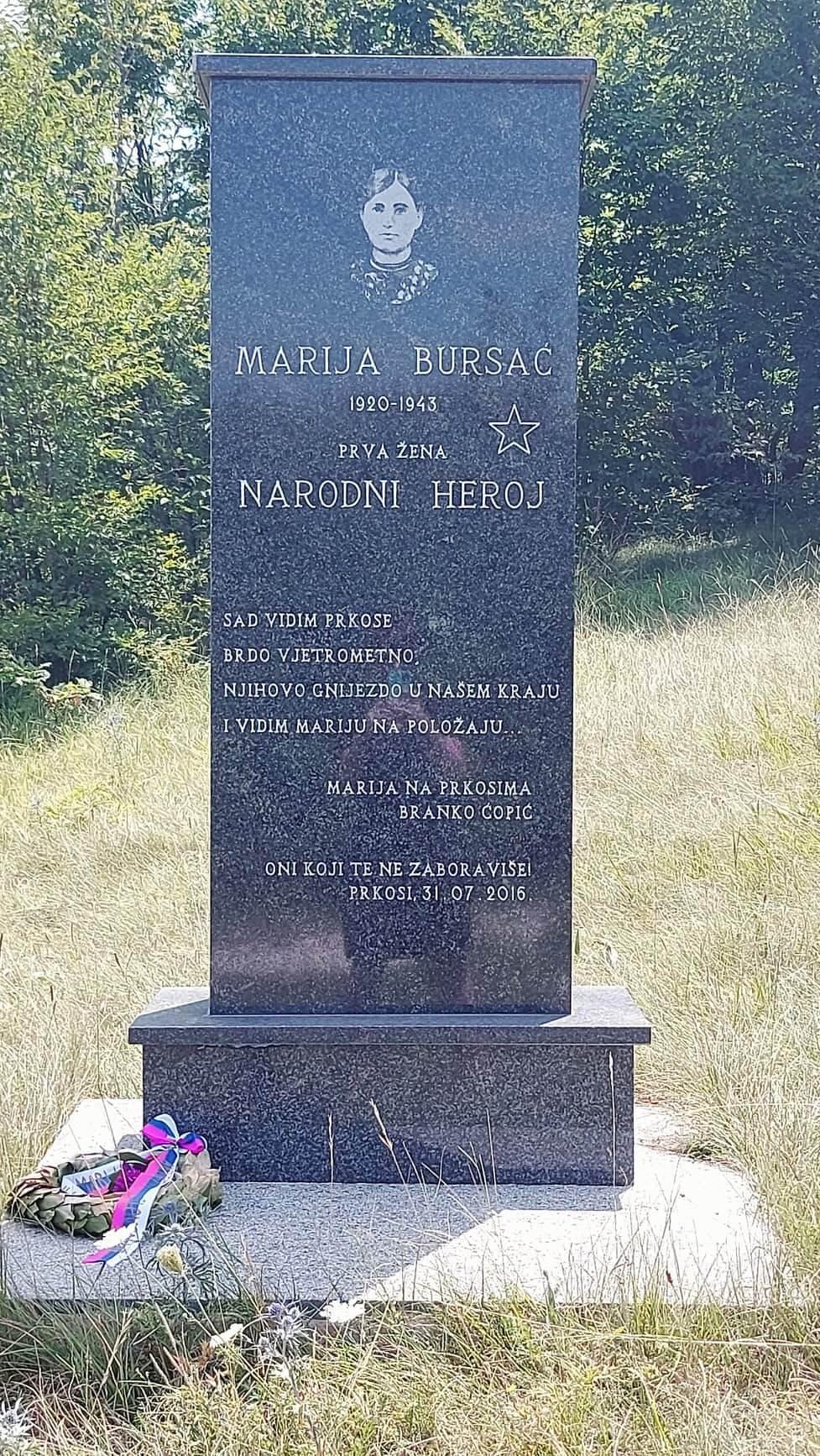 Marija Bursać, spomenik