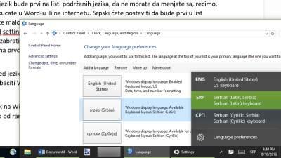Tastatura, Jezik, Windows jezik, Promena jezika