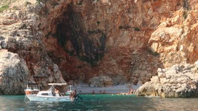plaža, pećina, brod, ljeto