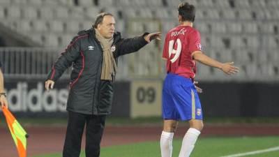 Dick Advocaat i Filip Djuricic na utakmici Srbija - Danska